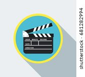 black open clapperboard. movie... | Shutterstock .eps vector #681282994