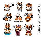corgi emoji stickers  patches... | Shutterstock .eps vector #681286183