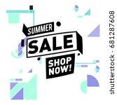 summer sale geometric style web ... | Shutterstock .eps vector #681287608