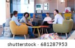 group of a young business... | Shutterstock . vector #681287953