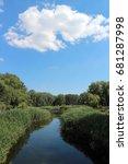 park lake  blue sky  green... | Shutterstock . vector #681287998