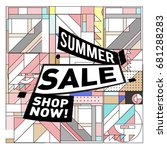 summer sale geometric style web ... | Shutterstock .eps vector #681288283