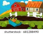cartoon farm scene   background ... | Shutterstock . vector #681288490