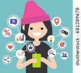 millennial consuming online... | Shutterstock .eps vector #681289678