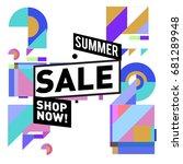 summer sale geometric style web ... | Shutterstock .eps vector #681289948