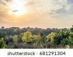 autumn sunset over the roofs of ...   Shutterstock . vector #681291304