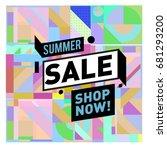 summer sale geometric style web ... | Shutterstock .eps vector #681293200