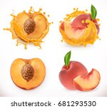 peach juice. fresh fruit  3d... | Shutterstock .eps vector #681293530