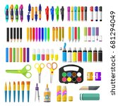 a set of stationery for...   Shutterstock .eps vector #681294049