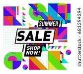 summer sale geometric style web ... | Shutterstock .eps vector #681294394
