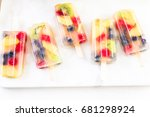 homemade fresh fruit popsicles... | Shutterstock . vector #681298924