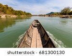 rare irawaddy dolphins boat... | Shutterstock . vector #681300130