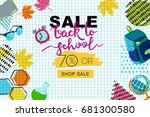 vector back to school sale... | Shutterstock .eps vector #681300580