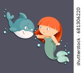 cute cartoon little mermaid ...   Shutterstock .eps vector #681306220