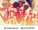 many makeup brushes in makeup... | Shutterstock . vector #681314530