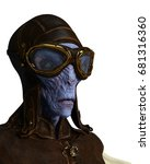 alien pilot vintage 3d... | Shutterstock . vector #681316360
