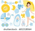 Vector Pregnant Woman Set With...