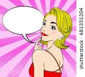 pop of cartoon woman with...   Shutterstock . vector #681331204