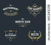 set of vintage retro restaurant ...   Shutterstock .eps vector #681343258