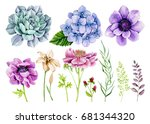 Stock photo group of individual elements watercolor flowers branches berries anemones hydrangea peony 681344320