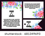 invitation with floral... | Shutterstock .eps vector #681349693