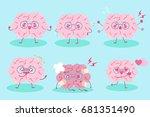 cute cartoon brain on the blue... | Shutterstock . vector #681351490