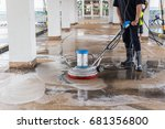 asian worker cleaning sand wash ... | Shutterstock . vector #681356800