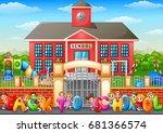 vector illustration of happy... | Shutterstock .eps vector #681366574
