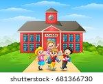 vector illustration of happy... | Shutterstock .eps vector #681366730
