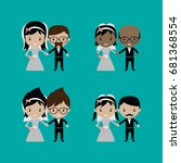 adorable groom and bride lovely ... | Shutterstock . vector #681368554