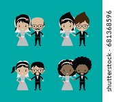 adorable groom and bride lovely ... | Shutterstock . vector #681368596