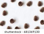 Pinecones Isolated On White...
