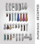 zipper puller metal leather tabs | Shutterstock .eps vector #681369430