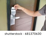 hand insert key card to key... | Shutterstock . vector #681370630
