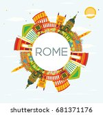 rome skyline with color... | Shutterstock . vector #681371176