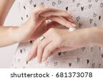 closeup of female hands... | Shutterstock . vector #681373078