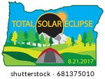 2017 total solar eclipse path... | Shutterstock .eps vector #681375010