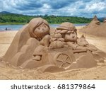 Sand Sculpture  Statue Of Two...