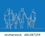 continuous line drawing of... | Shutterstock .eps vector #681387259