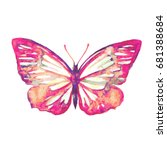 beautiful pink butterfly... | Shutterstock .eps vector #681388684