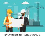 civil engineer discussion with... | Shutterstock .eps vector #681390478