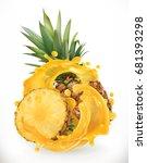 pineapple juice. fresh fruit.... | Shutterstock .eps vector #681393298