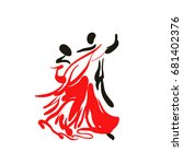 dancing couple. sketch.... | Shutterstock .eps vector #681402376
