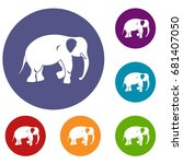 elephant icons set in flat... | Shutterstock .eps vector #681407050