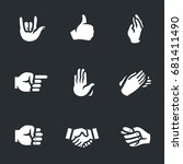 set of hand gestures icons. | Shutterstock . vector #681411490