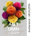 vector. autumn background with ... | Shutterstock .eps vector #681412954