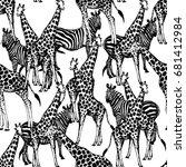seamless vector pattern of hand ... | Shutterstock .eps vector #681412984