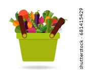 shopping basket with fresh... | Shutterstock .eps vector #681415429