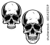collection of hand drawn skulls ... | Shutterstock .eps vector #681415519