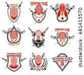 set of fencing club labels.... | Shutterstock .eps vector #681415570